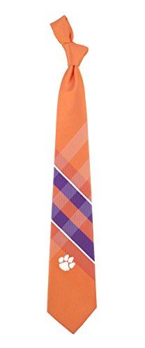 Clemson Grid Neck Tie with NCAA College Sports Team Logo