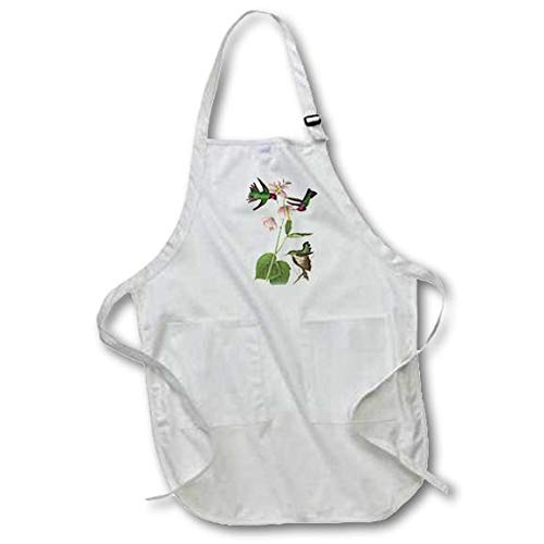 3dRose apr/_179033/_2 Hummingbirds with Pink Flowers Vintage Medium Length Apron with Pouch Pockets 22 by 24-Inch