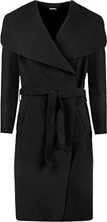 WearAll Women's Long Belt Pocket Open Coat Celebrity Waterfall Jacket Cape - Black - One Size