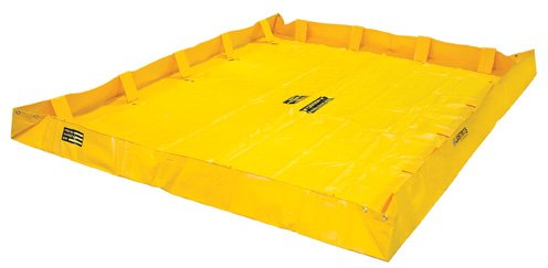 Justrite Manufacturing Company LLC 28566 - QuickBerm Collapsible Berm - PVC coated fabric, Yellow, 96 in Wide, 96 in Long