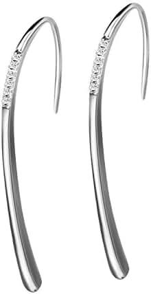 Bar Dangle Earrings Cubic Zircon Line Bar Hook Drop Earrings Sterling Silver