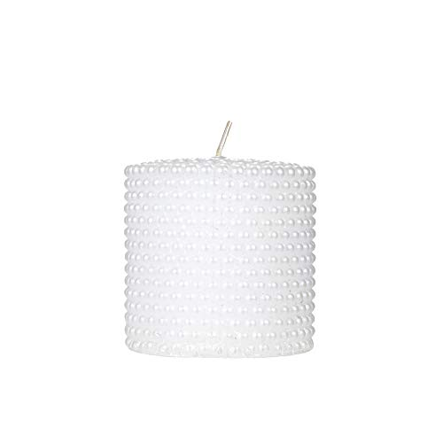 Mega Candles Unscented White Round Pearl Pillar Candle | Hand Poured Premium Wax Candles 3