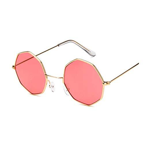 Round Sun Glasses for Women Mirror Retro Luxury Oval Small Sunglasses Women,Gold Red
