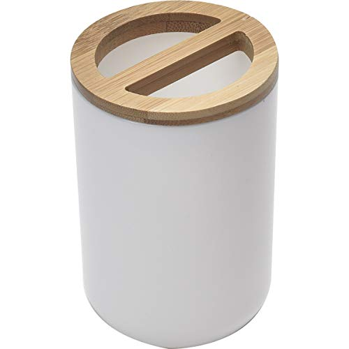 EVIDECO Bamboo Top Bathroom Toothbrush and Toothpaste Holder, White/Brown