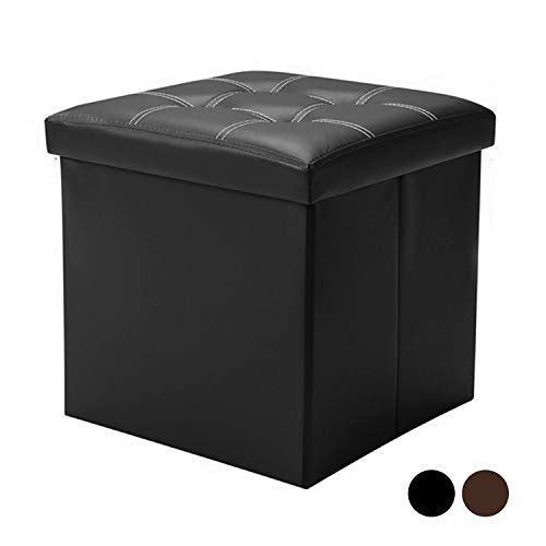 (Berry Ave Storage Ottoman – Square Folding Storage Ottoman – Padded Faux Leather Storage Stool with Lid – Comfortable Ottoman Foot Rest Stool – Measures 15 x 15 x 15 inches – Black)