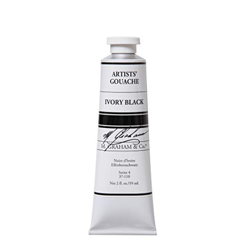 M. Graham 2-Ounce Tube Gouache Paint, Ivory Black