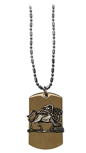Hat Shark WINGED LION Crystal Pewter Emblem Logo Symbols - Military Dog Tag Luggage Tag Key Chain Metal Chain Necklace ()