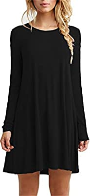 TINYHI Women's Casual Plain Fit Flowy Simple Swing T-Shirt Loose Tunic Dress