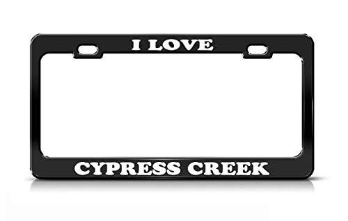 Tymeihao I Love Cypress Creek Florida Rivers Black Metal License Plate Frame