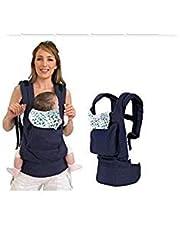 Portabebés de PriMi, fabricado con algodón, de una pieza, portador infantil de bebés tipo mochila, para una máxima comodidad, con hebilla y correa ajustable, color azul