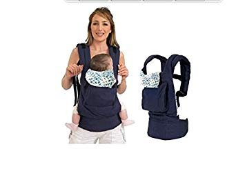 Portabebés de PriMi, fabricado con algodón, de una pieza, portador infantil de bebés tipo mochila, para una máxima comodidad, con hebilla y correa ajustable, color azul Portabebés de PriMi fabricado con algodón