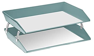 Acrimet Facility 2 Tiers Double Letter Tray (Solid Green Color)
