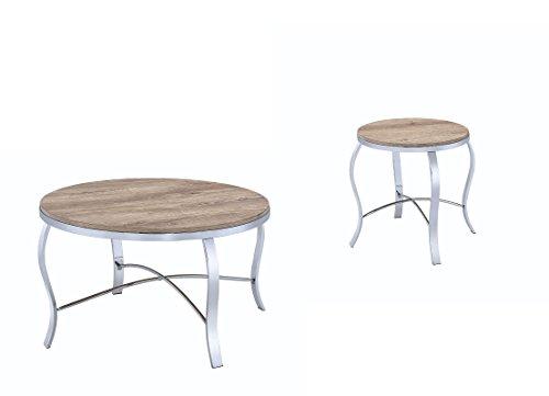 ACME Furniture 81705 Malai 3Piece Pack Coffee End Set, Weathered Light Oak & Chrome