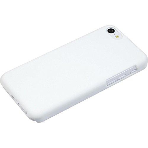 PhoneNatic Case für Apple iPhone 5c Hülle weiß gummiert Hard-case für iPhone 5c + 2 Schutzfolien
