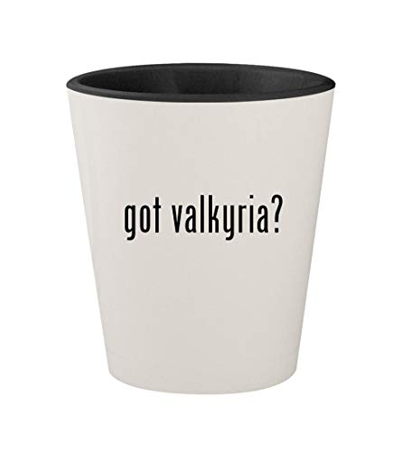 - got valkyria? - Ceramic White Outer & Black Inner 1.5oz Shot Glass