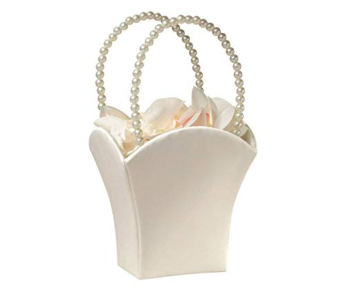 Plain Pearl Handle Ivory Flower Basket (Renewed)
