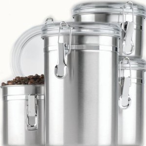New Anchor Hocking 4-Piece Stainless Steel Clamp Canister Set with Clear Lid by Anchor Hocking