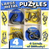 Right Brain Teaser Puzzle - Chunky Metal Brain Teaser Puzzles _ Set of 4