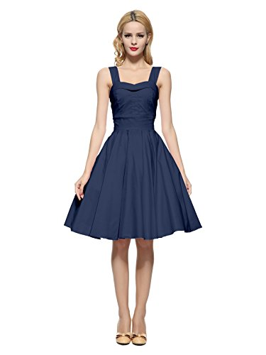 Maggie Tang 50 60s Vintage Cocktail Swing Rockabilly Ball Gown Dress Navyblue S]()