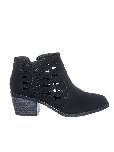 Bikers Stack Heel Ankle Booties w V-Cut & Triangle Perforated Cutout (11 B(M) US, Black Pu)