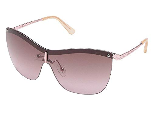 GUESS Women's Gu7471 Shield Sunglasses, shiny rose gold & violet, 00 ()
