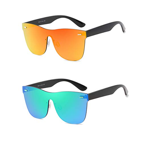- Rimless Mirrored Lens One Piece Sunglasses UV400 Protection for Women Men (Red+Green)
