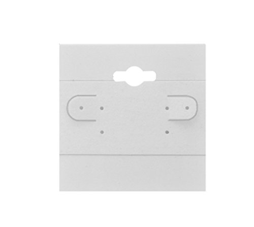 CuteBox 2 x 2 Inch White Earring Jewelry Display Hanging Cards Showcase Hanging Earring Card (White, 2