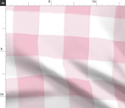 Cottage Breakfast - Translucent Checkered Fabric - Girls Country Baby Pink Nursery Kids Countryside Cottage Kitchen Breakfast Print on Fabric by the Yard - Petal Signature Cotton for Sewing Quilting Apparel Crafts Decor