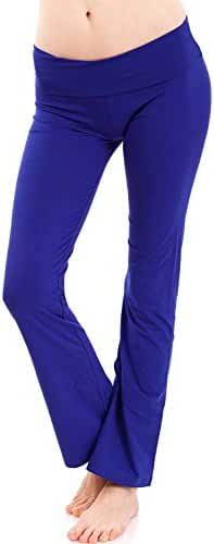 Royal Blue Clothes Effect Woman Fold-Over Waist Flared Legs Yoga Pants