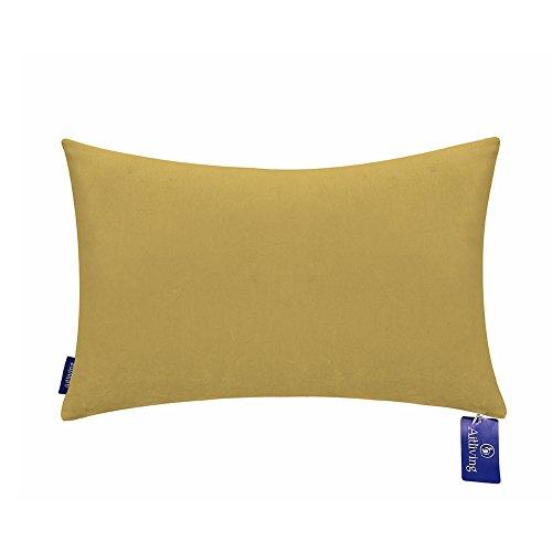Aitliving Decorative Pillow Covers 12 X 20 inch Classy Looking Cotton Velvet Handmade with Cotton Linen Reverse Sauterne Yellow Ochre Soft Bolster Pillow Case 1 PC ()