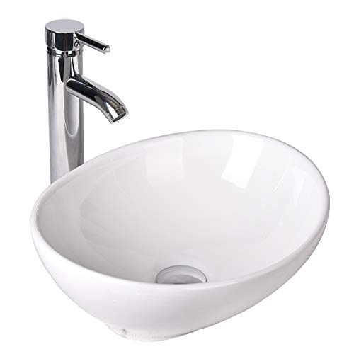 Oval Bathroom Vessel Sink Vanity Basin White Porcelain Ceramic Bowl with Faucet & Pop Up Drain (oval)
