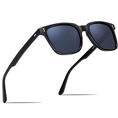 Carfia Chic Retro Polarized Sunglasses For Women Sun?S Rays Protection Driving Outdoor Eyewear, Square- Blue Grey Lens, ONE SIZE ()