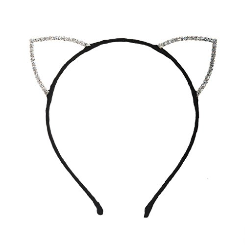 MC Rhinestone Cat Ear Headband (Black) - For Party Accessories, Costumes, Dress Up, Halloween