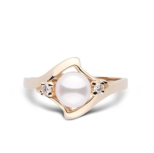 Wave Collection Akoya Cultured Pearl and Diamond Ring - 14K Yellow Gold - Ring Size ()