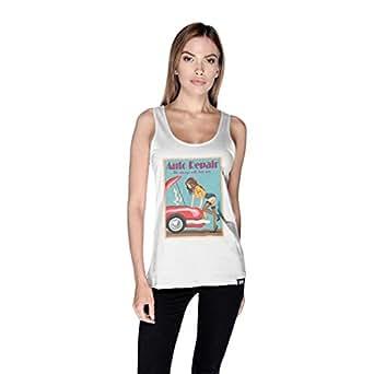Creo Auto Repair Beach Tank Top For Women - M, White