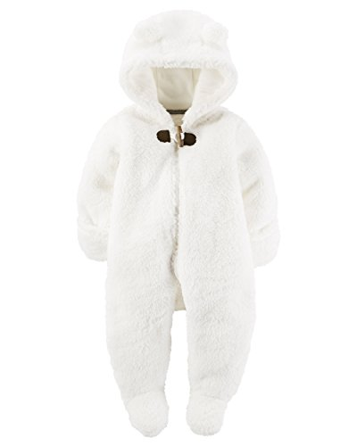 William Carter Baby Girls Hooded Fleece Jumpsuit, White Sherpa Bunting, (Print Fleece Bunting)