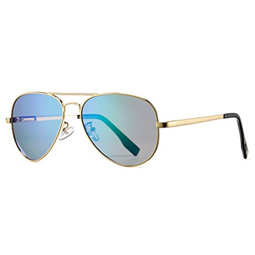 - Polarized Aviator Sunglasses for Men Women with Spring Hinge Legs, UV400 Protection (Gold Frame/Green Mirror Lens)