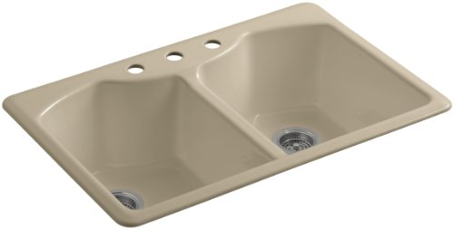 Mexican Sand Shape (KOHLER K-6482-3A4-33 Bellegrove Double Bowl Top-Mount Kitchen Sink with Three Hole Drillings, Mexican Sand)