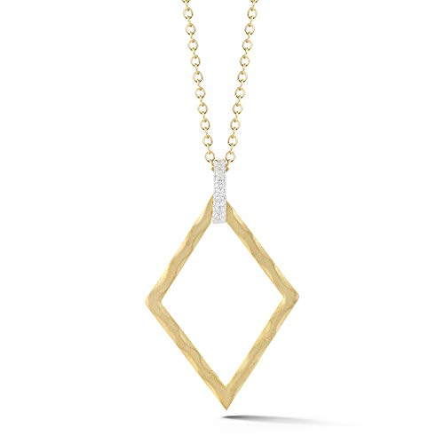 I REISS 14K Yellow Gold 0.06ct TDW Diamond Accent Diamond-Shape Pendant Necklace ()