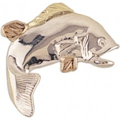 High polish Sterling silver Yellow gold Black Hills Gold Fish Tie tack/lapel Pin