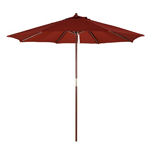 California Umbrella 9-Feet Polyester Pulley Lift System Wood Market Umbrella, Brick (Round Wood Canopy)