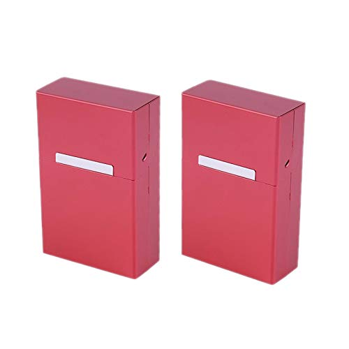 Bleiou 2pcs/lot Cigarette Case Aluminum Metal Cigar Cigarette Box Holder Tobacco Storage Case Pouch 20pcs Cigarettes Container Gift (Red)