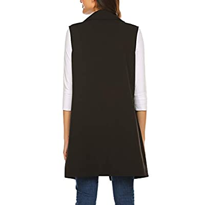 Meaneor Long Vest for Women, Long Sleeveless Duster Blazer Vest Jacket, S-XXL at Women's Clothing store