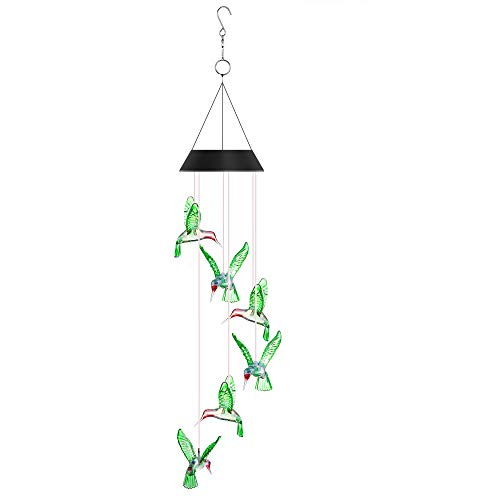 Junxiongshiji Solar Wind Chime Color-Changing LED Lights Mobile Six Hummingbird Solar Wind Chimes for Outdoor Furniture Party Night Garden Patio Home Decoration by Junxiongshiji