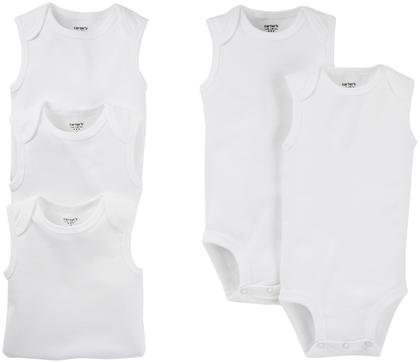 Carter's 5-Pack S/L Bodysuits - White- 12 Months