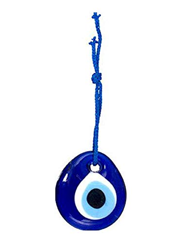 (Luos Cultural Goods Single Sided Blue Glass Evil Eye Talisman- Good Luck Charm, Home, Office, Car Decoration, Blessing Ornament, Reflects Negative Energy, 1.5 inches)