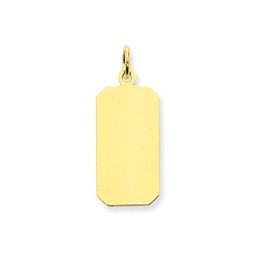 Engravable Disc Charm (FB Jewels 14K Yellow Gold Plain .011 Gauge Engravable Rectangular Disc Charm)