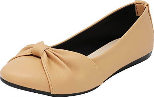 Cambridge Select Women's Closed Round Toe Bow Knot Slip-On Comfort Ballet Flat,8.5 B(M) US,Nude Beige PU