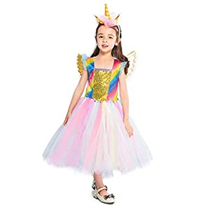 Rainbow Unicorn Costume Halloween Girls Dress Up Costumes for Party Special Occasion