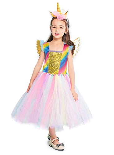 Rainbow Unicorn Costume Halloween Girls Dress Up Costumes for Party Special Occasion (XL(10-12Years), Gold) -